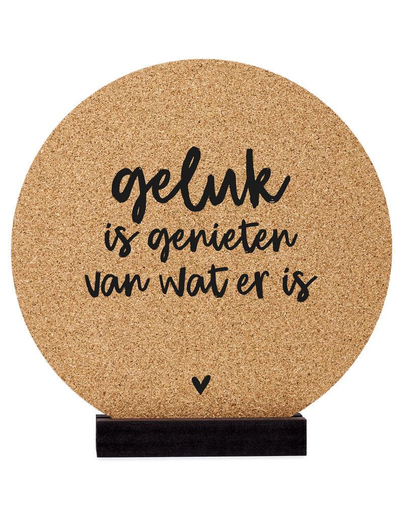 Zoedt Poster kurk | Muurcirkel met tekst 'Geluk is genieten van wat er is' 20 cm