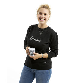 Zoedt Zwarte sweater met tekst Geniet