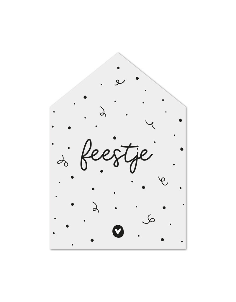 Zoedt Minikaartje huisje met tekst Feestje