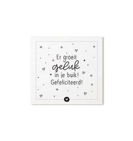 Zoedt Cadeaukaartje vierkant met  tekst Er groeit geluk in je buik! Gefeliciteerd!