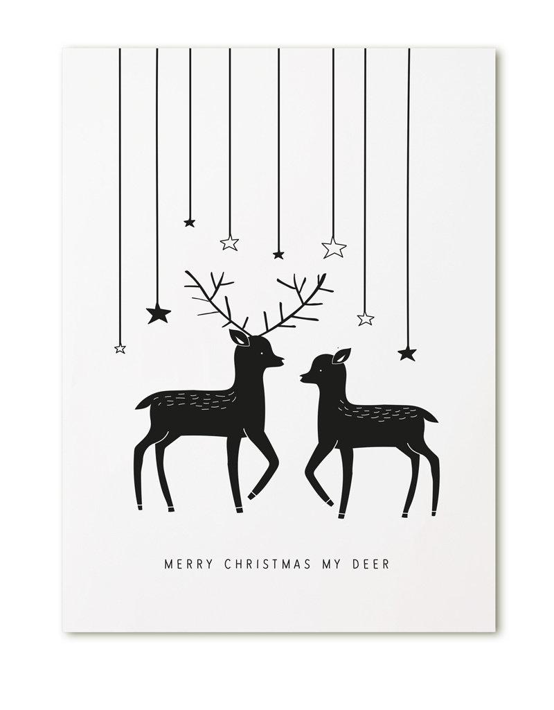 Zoedt Poster A4  Kerst hertjes Merry Christmas my deer