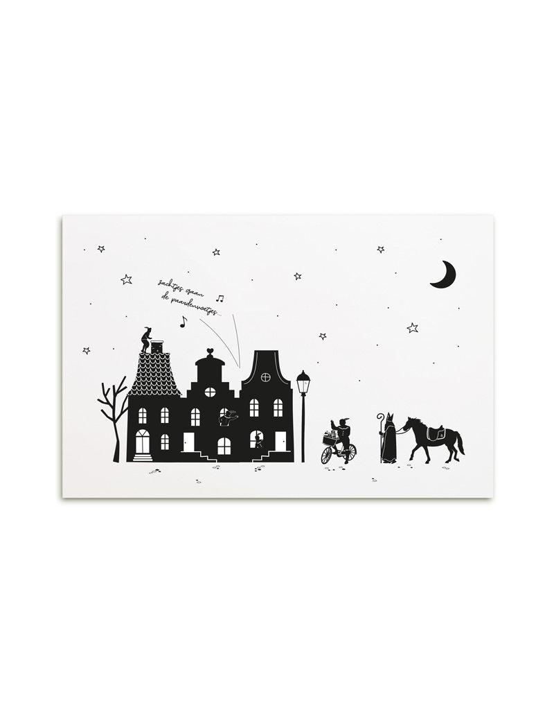 Zoedt Poster A4  Sinterklaas 'Zachtjes gaan de paardenvoetjes...'