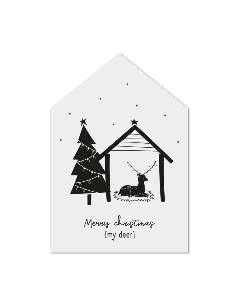 Zoedt Minikaartje wit huisje kerst Merry Christmas my deer