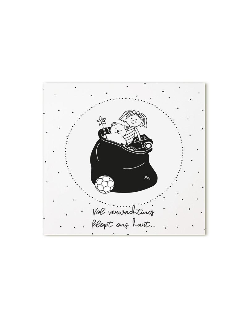 Zoedt Minikaartje wit Vol verwachting klopt ons hart
