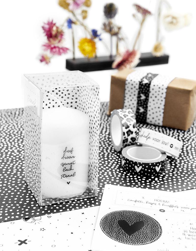 Zoedt Cadeau: mini kaars durf, droom, geniet, lach straal in cadeauverpakking