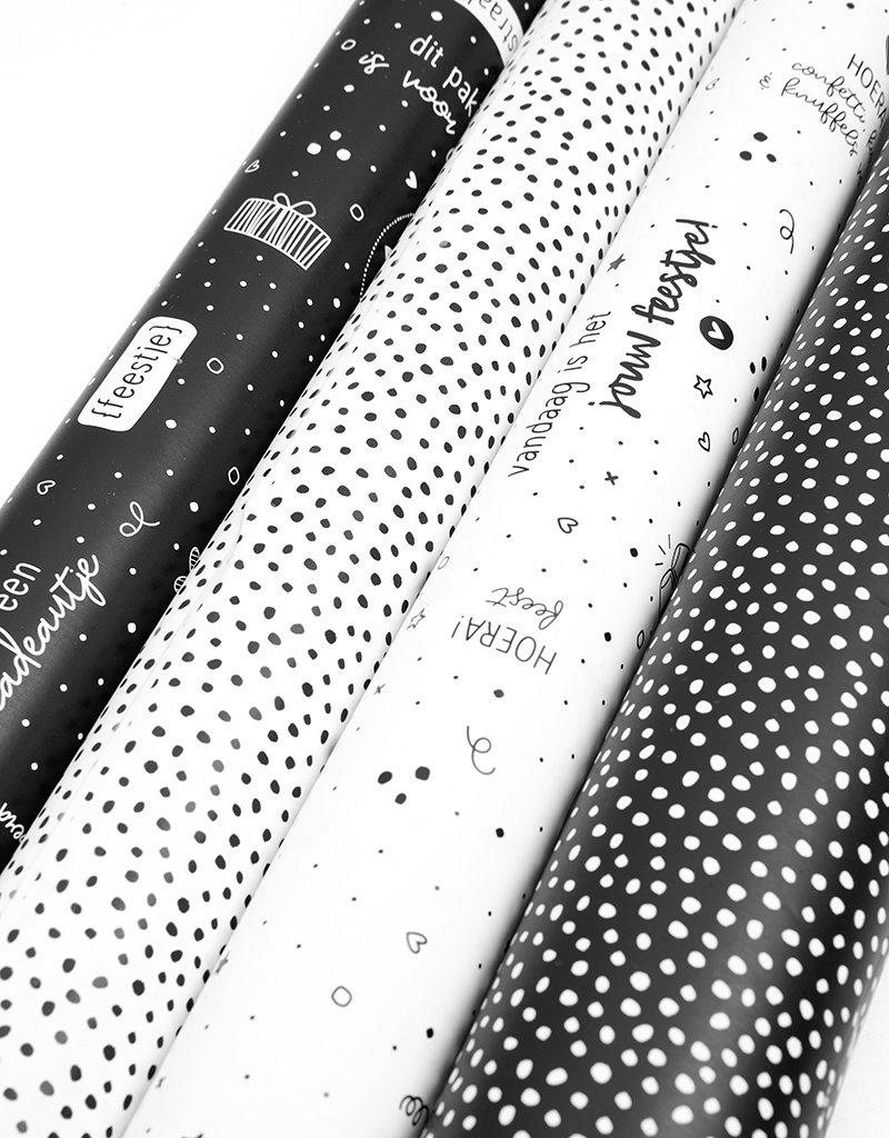 Zoedt Rol cadeaupapier zwart wit  50x300cm