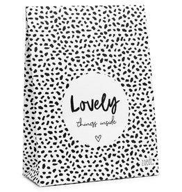 Zoedt Cadeauzakje wit met tekst Lovely things inside