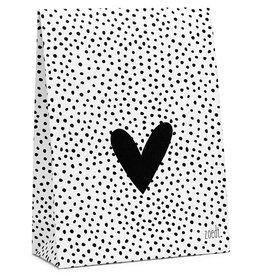 Zoedt Cadeauzakje wit met dots patroon en hart