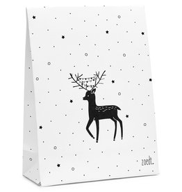 Zoedt Kerst cadeauzakje wit met zwart patroon en hertje