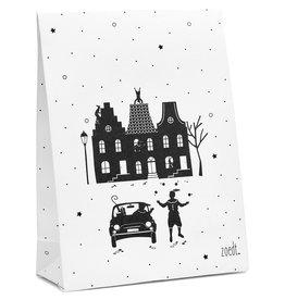 Zoedt Sinterklaas cadeauzakje wit met zwart patroon grachtenpanden en pieten