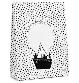 Zoedt Sinterklaas cadeauzakje zwart wit stoomboot 'Dit cadeautje is voor...'