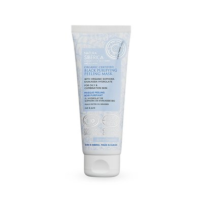 Natura Siberica Schwarz reinigende Peeling-Maske für fettige & kombinierte Haut, 75 ml