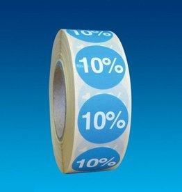 "ETIKET DIA25MM BLAUW/WIT ""10%"" PERM. 1000/ROL"