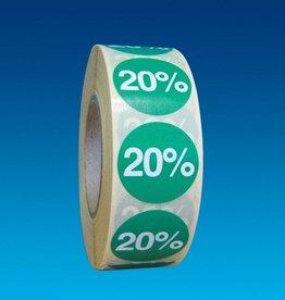 "ETIKET DIA25MM GROEN/WIT ""20%"" PERM. 1000/ROL"