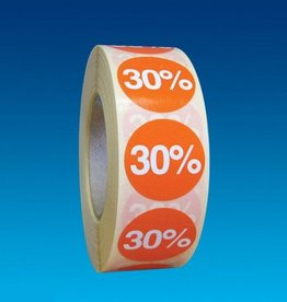 "ETIKET DIA25MM ORANJE/WIT ""30%"" PERM. 1000/ROL"