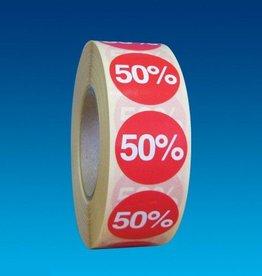 "ETIKET DIA25MM ROOD/WIT ""50%"" PERM. 1000/ROL"