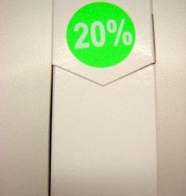 "ETIKET DIA35MM FLUO GROEN/WIT ""20%"" PERM. 500/ROL"