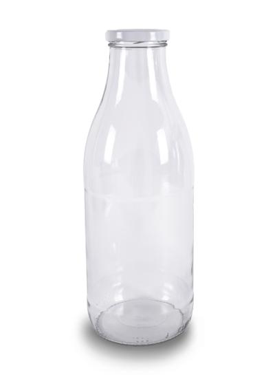Milchflasche Glas | 1 l Glas | mit Deckel