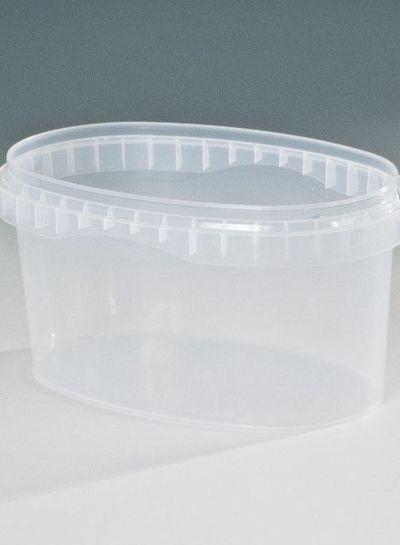 RPC Superfos Becher oval | 1,2 l klar | mit Deckel