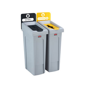 Rubbermaid Zweier-Recycling-Station Restmüll / Kunststoff