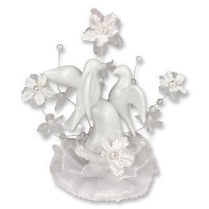 Porzellan-Aufsatz mit Hochzeits-Tauben
