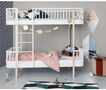Oliver Furniture Etagenbett Wood Leiter vorne, weiß-Eiche