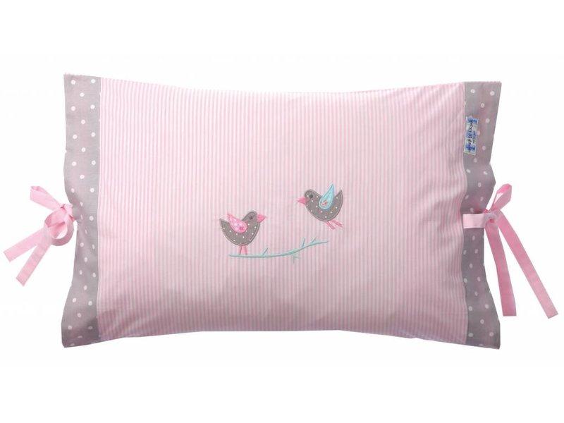 Annette Frank Kissenbezug Vögelchen marina rosa 40 x 60 cm mit Schleifen