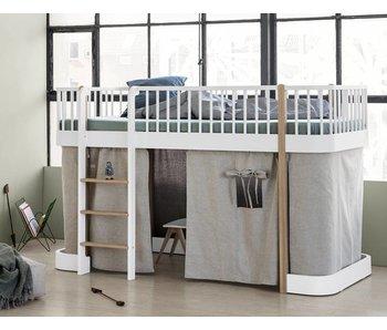 Oliver Furniture Halbhohes Hochbett Wood weiß-Eiche