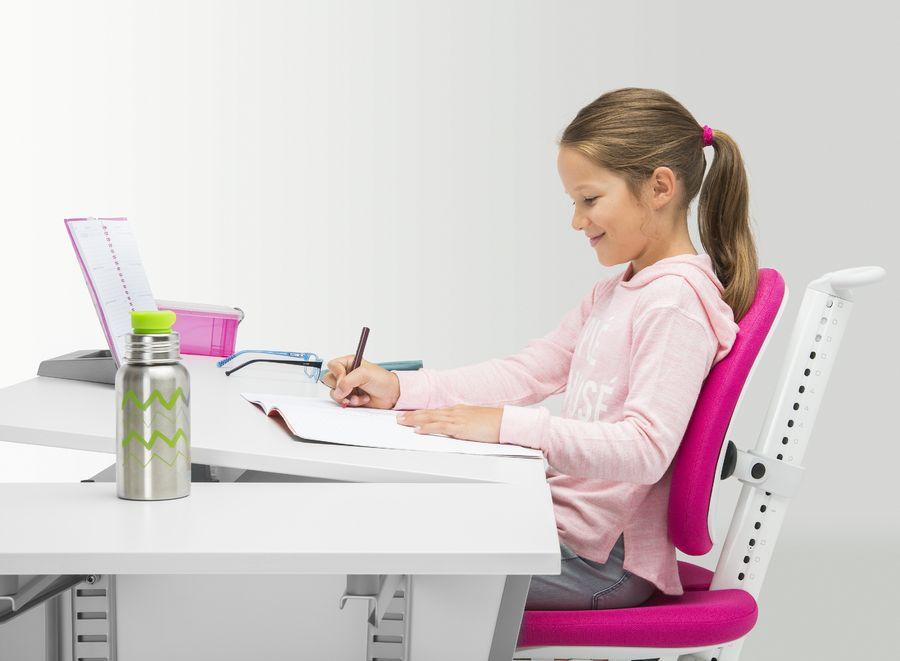 moll Kinderdrehstuhl Maximo Gestell weiß Sitzbezug rot