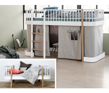 Oliver Furniture Umbau Wood Einzel/Junior zu halbhohem Bett Eiche