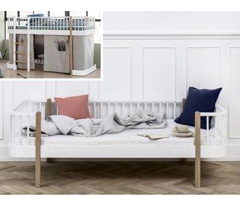 Oliver Furniture Umbau halbhohes Bett zum Bettsofa Wood weiß/Eiche