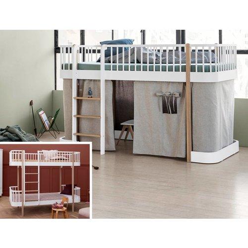 Oliver Furniture Umbausatz vom Etagenbett zum halbhohen Bett Wood in weiß/Eiche