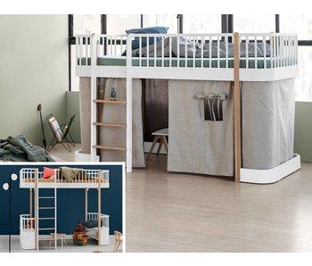 Oliver Furniture Umbau Hochbett zum halbhohen Bett Wood weiß/Eiche