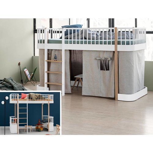 Oliver Furniture Umbausatz vom Hochbett zum halbhohen Bett Wood  weiß/Eiche