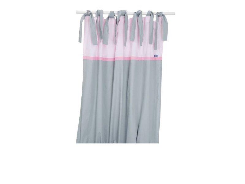 Annette Frank Vorhangschal Pony Pastille grau - rosa 150 x 250 cm