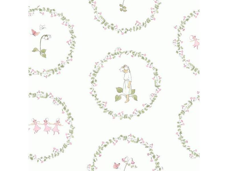 """Boråstapeter Tapete """"Pyrola""""  Blumenranken mit Elfen und Schmetterlingen - Scandinavian Designers Mini"""
