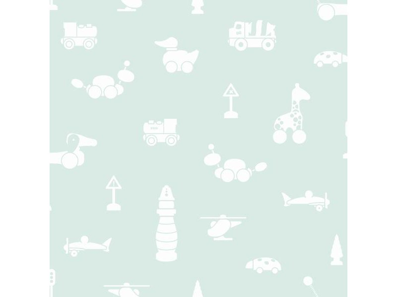 "Boråstapeter Tapete ""Brio Icons"" Spielwelt Motive auf mint - Scandinavian Designers Mini"