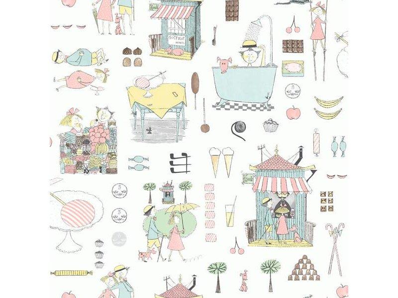 "Boråstapeter Tapete ""Krakelspektakel"" lebhafter Tag im Park - Scandinavian Designers Mini"
