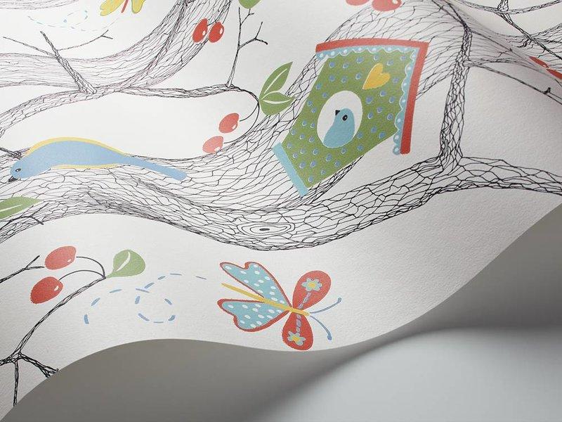 "Boråstapeter Tapete ""Cherry Friends"" Vögel im Kirschbaum - Scandinavian Designers Mini"