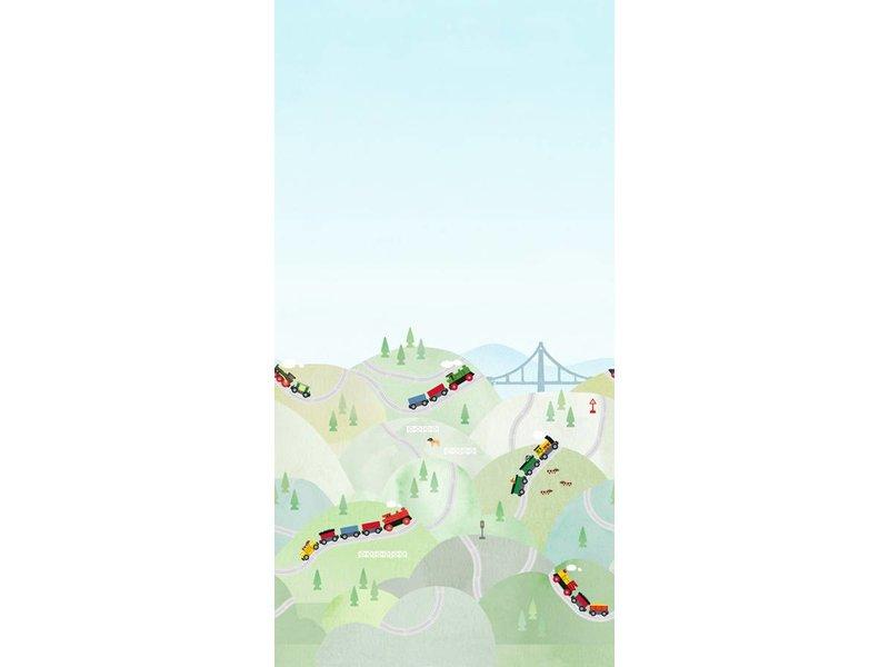 "Boråstapeter Wandbild ""Brio Hills"" Zugfahrt durch die Berge - Scandinavian Designers Mini"