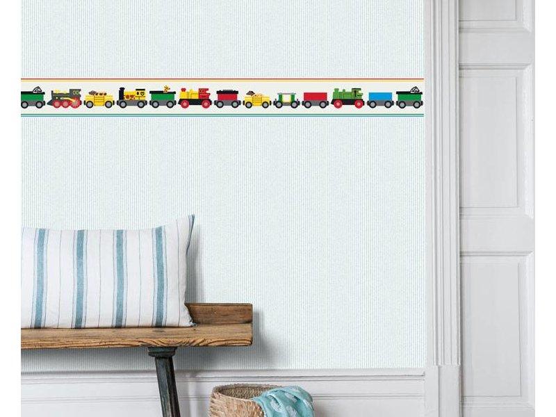 "Boråstapeter Bordüre ""BRIO Trains""  kunterbunte Zugfahrt - Scandinavian Designers Mini"