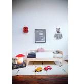 Oeuf Kinderbett Perch weiß-Walnuss 70 x 140 cm mit Rausfallschutz