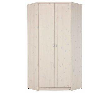 LIFETIME Eck-Kleiderschrank mit Drehtüren whitewash