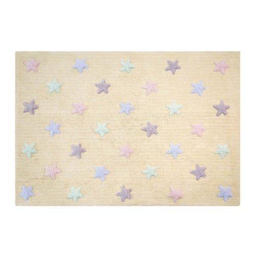 Lorena Canals Teppich Tricolor Stars 120 x 160 cm - soft mint
