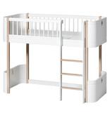 Oliver Furniture Wood Mini+ halbhohes Hochbett weiß-Eiche