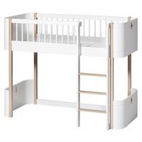 Wood Mini+ low loft bed, white-oak