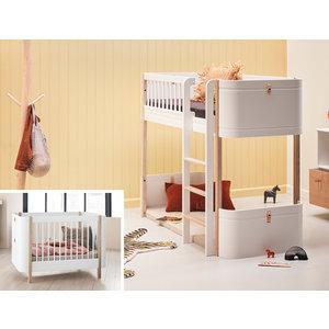 Oliver Furniture Umbau Wood Mini+ Basic zum Mini+ halbhohen Hochbett weiß/Eiche