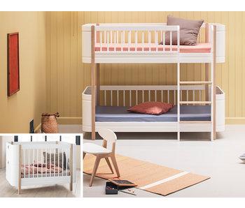 Oliver Furniture Umbau Wood Mini+ Basic zum Mini+ halbhohen Etagenbett weiß/Eiche