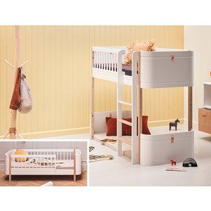 Oliver Furniture Umbau Wood Mini+ Juniorbett zum Mini+ halbhohen Hochbett weiß/Eiche