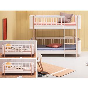 Oliver Furniture Umbau Wood 2 Mini+ Juniorbetten zum Mini+ halbhohen Etagenbett weiß/Eiche